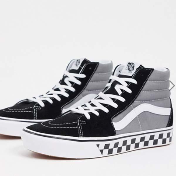 Vans ComfyCush SK8-Hi チェック テープ トレーナー(ブラック/グレー) 靴 スニーカー メンズ 男性 小さいサイズから大きいサイズまで 20代 30代 40代 ファッション コーディネート
