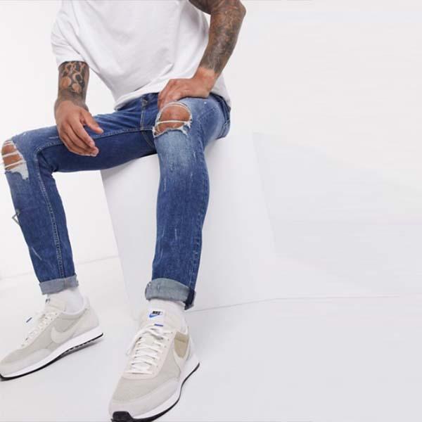 トップマンス キニージーンズ ブロー アウト リップ ミッドウォッシュブルー  デニム パンツ ボトム メンズ 男性 小さいサイズから大きいサイズまで 20代 30代 40代 ファッション コーディネート
