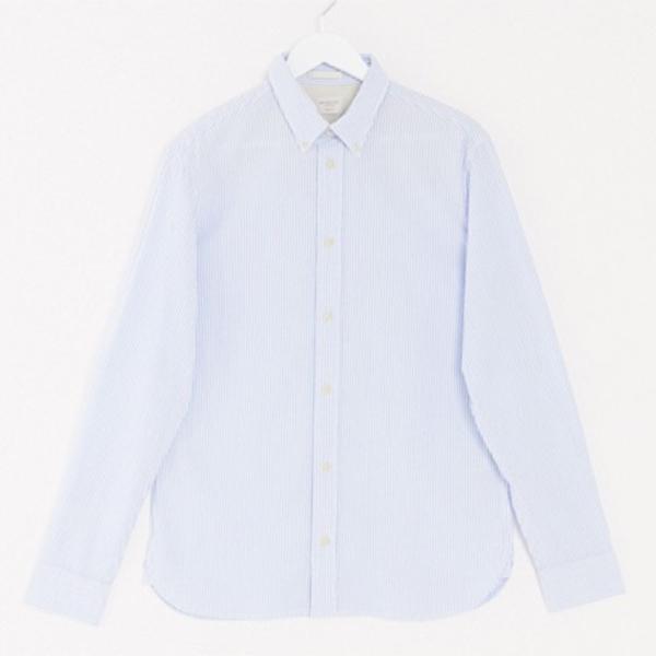 オム シアサッカー シャツ ブルー  メンズ インポートブランド トップス 小さいサイズから大きいサイズあり 30代 40代 20代 高身長 春夏秋冬