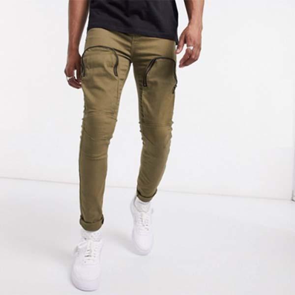 Sixth June フロントポケット付き カーキ ジーンズ  デニム パンツ メンズ 男性 小さいサイズから大きいサイズまで 20代 30代 40代 ファッション コーディネート