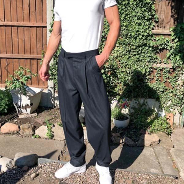 ASOS DESIGN ネイビー ハイウエスト スリム スマート パンツ メンズ 男性 小さいサイズから大きいサイズまで 20代 30代 40代 ファッション コーディネート