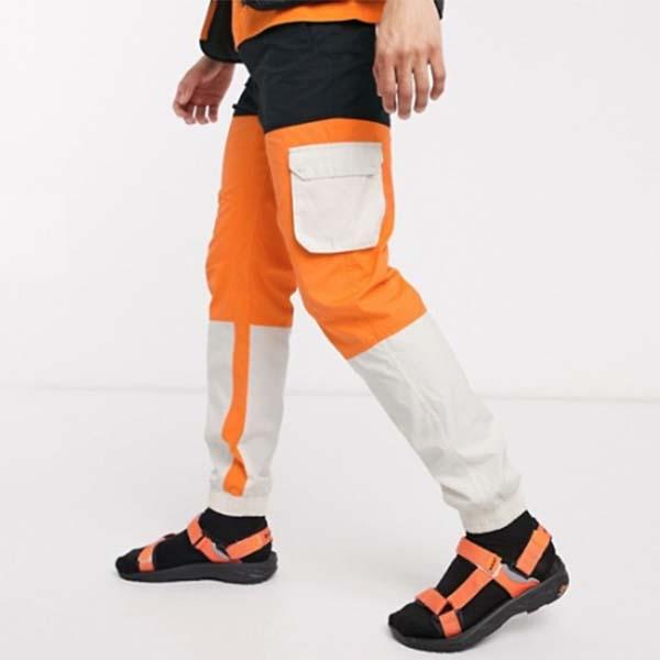 Hi-Tec パネル カーゴパンツ(ブラックとオレンジ) メンズ 男性 小さいサイズから大きいサイズまで 20代 30代 40代 ファッション コーディネート