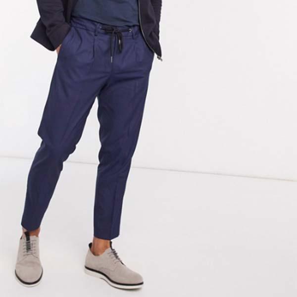 オム スリム テーパード クロップド パンツ(ネイビー) パンツ ボトム メンズ 男性 小さいサイズから大きいサイズまで 20代 30代 40代 ファッション コーディネート