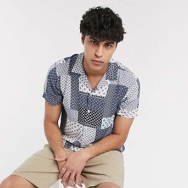 オム ショート スリーブ レベル パッチワーク シャツ ブルー トップス メンズ 男性 小さいサイズから大きいサイズまで 20代 30代 40代 ファッション コーディネート
