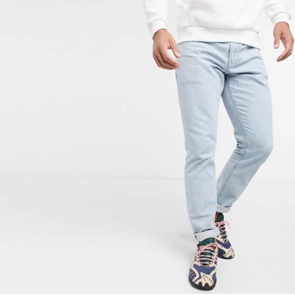 ASOS DESIGN スリム ジーンズ ブリーチ加工  パンツ ボトム メンズ 男性 小さいサイズから大きいサイズまで 20代 30代 40代 ファッション コーディネート