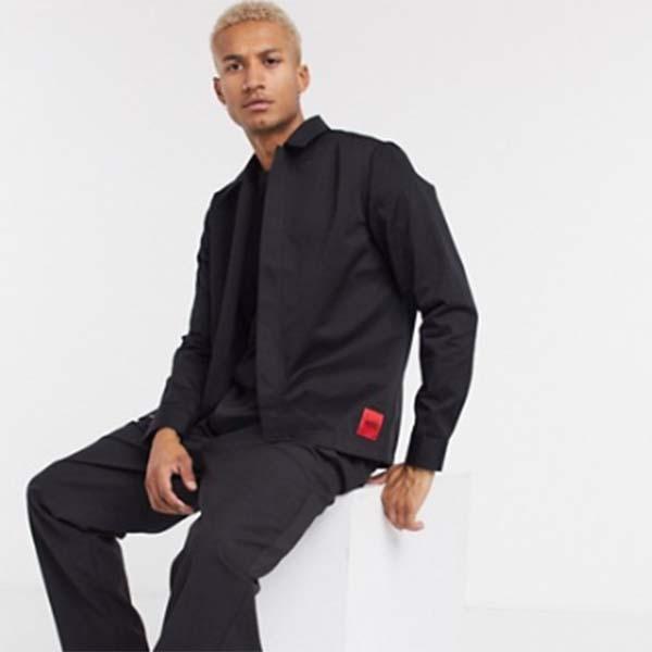 HUGO エピノジップ スルー オーバーシャツ ブラック トップス メンズ 男性 小さいサイズから大きいサイズまで 20代 30代 40代 ファッション コーディネート