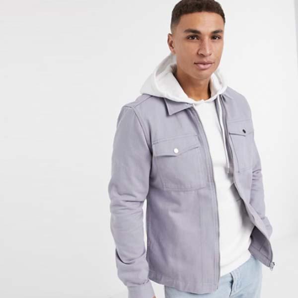 リバーアイランド ロング スリーブ ジップ スルー オーバーシャツ(ライトブルー) トップス メンズ 男性 小さいサイズから大きいサイズまで 20代 30代 40代 ファッション コーディネート