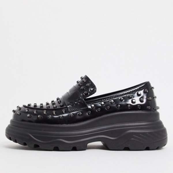 ブラック スタッド Koi Footwear チャンキー ローファー メンズ 男性 小さいサイズから大きいサイズまで 20代 30代 40代 ファッション コーディネート