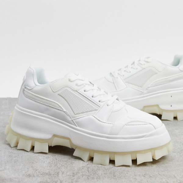 ASOS DESIGN トレーナー マルチ ラバー パネル 分厚い クリート ソール ホワイト メンズ 男性 小さいサイズから大きいサイズまで 20代 30代 40代 ファッション コーディネート