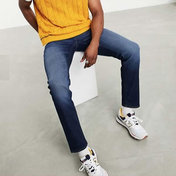 ASOS DESIGN 'Sustainable' スリム ジーンズ(ダークウォッシュブルー) パンツ ボトム メンズ インポート 大きいサイズあり 流行 最新 メンズカジュアル