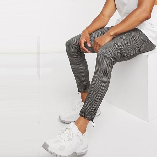 グレー ロゴ ウエストバンド Siksilk チェック カーゴ ジョガー パンツ メンズ 男性 20代 30代 40代 ファッション コーディネート