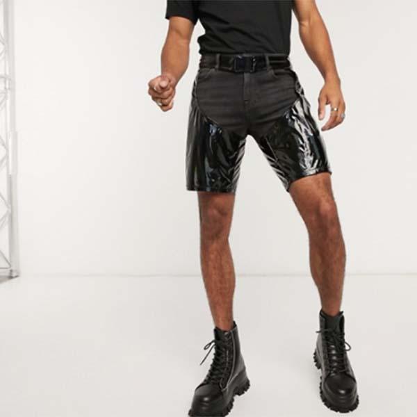 ASOS DESIGN 虹色 ショート チャップ  パンツ ボトム メンズ 男性 20代 30代 40代 ファッション コーディネート