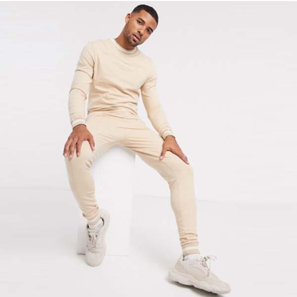 ASOS DESIGN マッスル トラックスーツ(ストライプリブ ベージュ) セットアップ 上下  パンツ ボトム メンズ 男性 20代 30代 40代 ファッション コーディネート