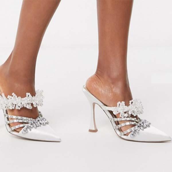 ASOS DESIGN 花びら 真珠 装飾 ヒール ファッション 大人可愛い フェス 20代 30代 40代 diva 大きいサイズあり 小さいサイズあり 高身長