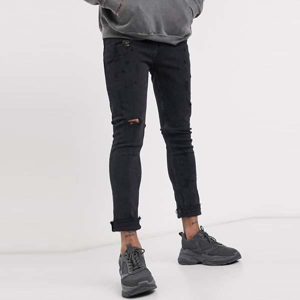 ASOS DESIGN ミッドリップ付き ウォッシュド ブラック スーパー スキニー ジーンズ 20代 30代 40代 ファッション コーディネート 小さいサイズから大きいサイズまでオシャレ トレンド インポート トレンド