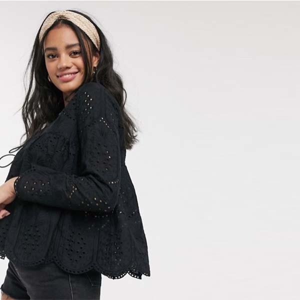 ASOS DESIGN ブロデリー ベッド ジャケット(ブラック) 小さいサイズあり 大人カジュアル 大きいサイズあり 30代 40代 20代 お呼ばれ インポート キャバ レトロ 高身長 レディース 女性