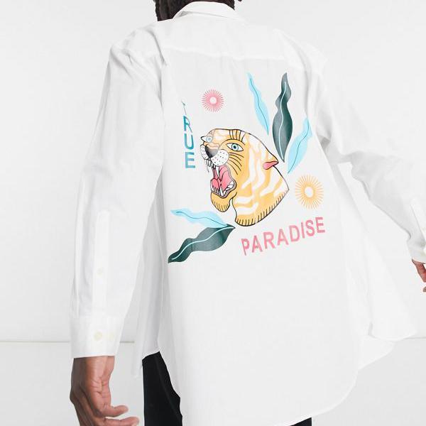 京都のセレクトショップdivacloset エイソス ASOS 国内在庫 asos DESIGNエクストリームオーバーサイズシャツ バックプレースメントタイガープリント インポートブランド 特価 トップス 小さいサイズから大きいサイズまで メンズ 男性