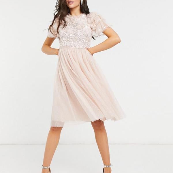 選ぶなら ニードル レディース&スレッド装飾フリルスリーブミディドレス、赤面 ワンピース ワンピース レディース 女性 女性 インポートブランド 小さいサイズから大きいサイズまで, オフィスマーケット:f4077114 --- dibranet.com