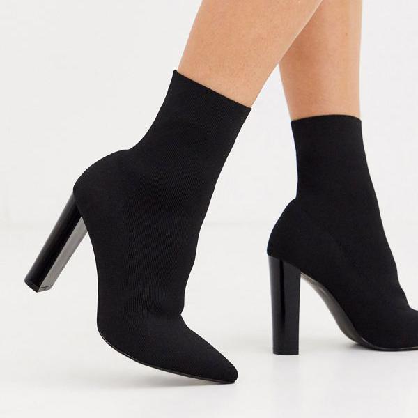 京都のセレクトショップdivacloset おすすめ エイソス ASOS asos ASOSDESIGNワイドフィットエンハンスブロックヒールソックスブーツブラックニット 女性 靴 トレンド レディース 小さいサイズから大きいサイズまで インポートブランド