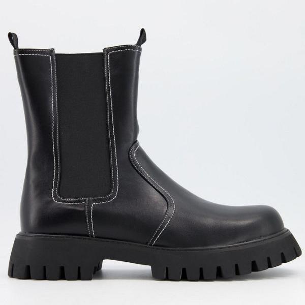 【ラッピング無料】 コイフットウェア Koi Footwear 鯉の靴ビーガン分厚いプルアップチェルシーブーツ(黒) 靴 メンズ 男性 インポートブランド 小さいサイズから大きいサイズまで, ゲットプラス f5e4172f