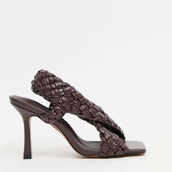 京都のセレクトショップdivacloset エイソス ASOS asos ASOSDESIGNチョコレートのノック織りクロスストラップヒールサンダル 女性 超目玉 レディース 靴 小さいサイズから大きいサイズまで 保障 インポートブランド