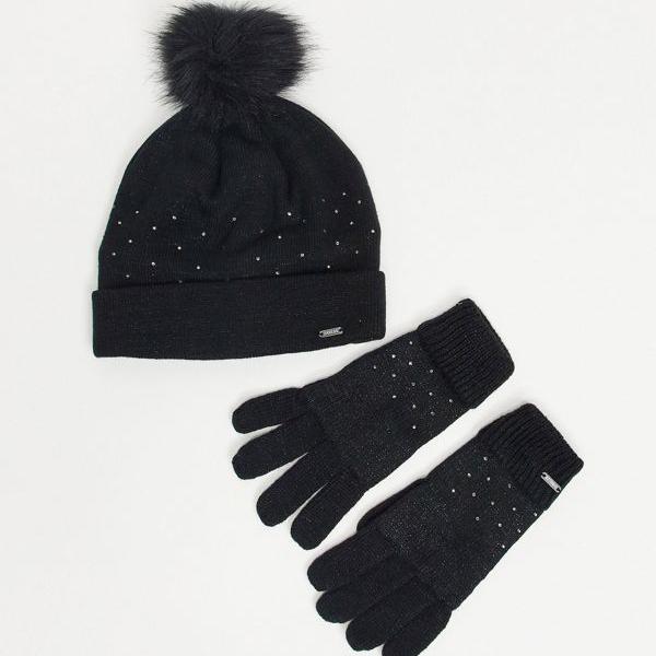 京都のセレクトショップdivacloset Dare 正規逆輸入品 2 BeXスワロフスキーBejewelの帽子とグローブを黒にセット 女性 インポートブランド 商舗 レディース アクセサリー