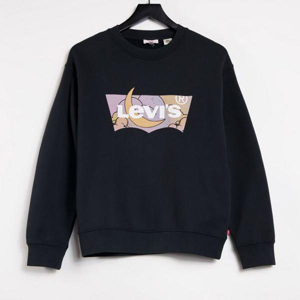 京都のセレクトショップdivacloset リーバイス Levi's リーバイスの黒のバットウィングスウェットシャツ トップス 小さいサイズから大きいサイズまで インポートブランド 定価の67%OFF 女性 レディース 毎日激安特売で 営業中です