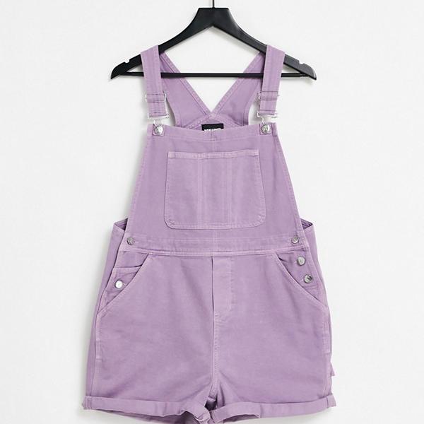 京都のセレクトショップdivacloset リクレイムドヴィンテージ Reclaimed Vintage 紫の再生ヴィンテージ風ショートダンガリー インポートブランド 女性 レディース ご予約品 小さいサイズから大きいサイズまで オールインワン 公式通販