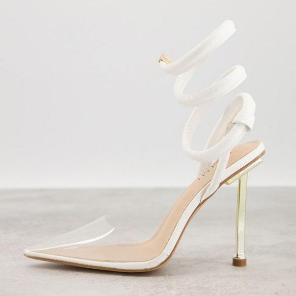 <title>贈り物 京都のセレクトショップdivacloset シミ SIMMI Simmi London シミロンドンティオナヒールシューズ スパイラルストラップホワイト 靴 レディース 女性 インポートブランド 小さいサイズから大きいサイズまで</title>