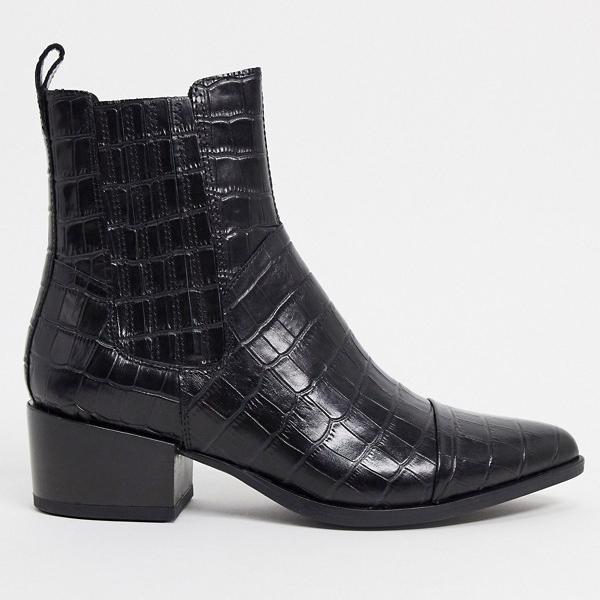 正規店 京都のセレクトショップdivacloset 格安SALEスタート バガボンド Vagabond ヴァガボンドマルハレザーのポインテッドウエスタンアンクルブーツ ブラッククロックス 小さいサイズから大きいサイズまで 靴 インポートブランド 女性 レディース