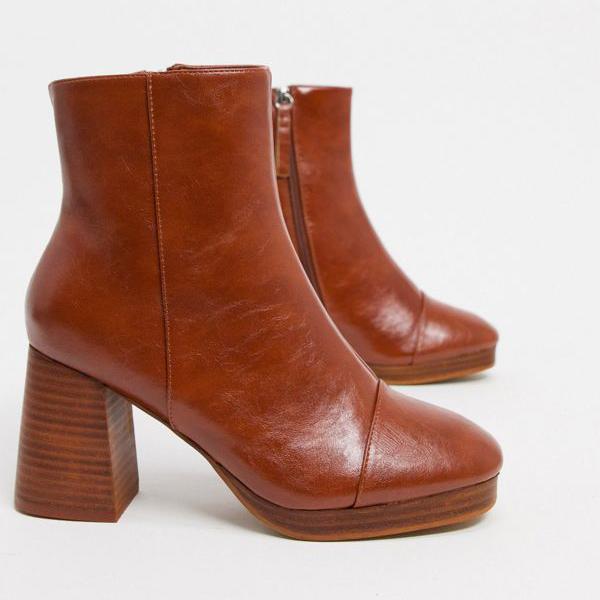 京都のセレクトショップdivacloset 国内正規総代理店アイテム エイソス ASOS asos DESIGN Wide 靴 小さいサイズから大きいサイズまで インポートブランド 品質保証 FitRhonaプラットフォームブーツは日焼け レディース 女性