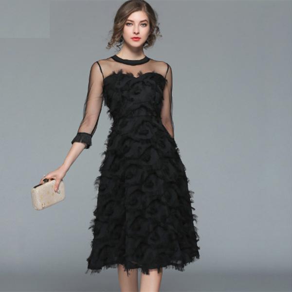 フェザーシフォン シースルー 袖フリンジ パーティードレス 大きいサイズ 結婚式 20代 30代 40代 フォーマルワンピース ドレス お呼ばれ 二次会 フレア Aライン 大人可愛い 袖付き ミディアムドレス S~XL 上品 フォーマルドレス diva 小さいサイズあり