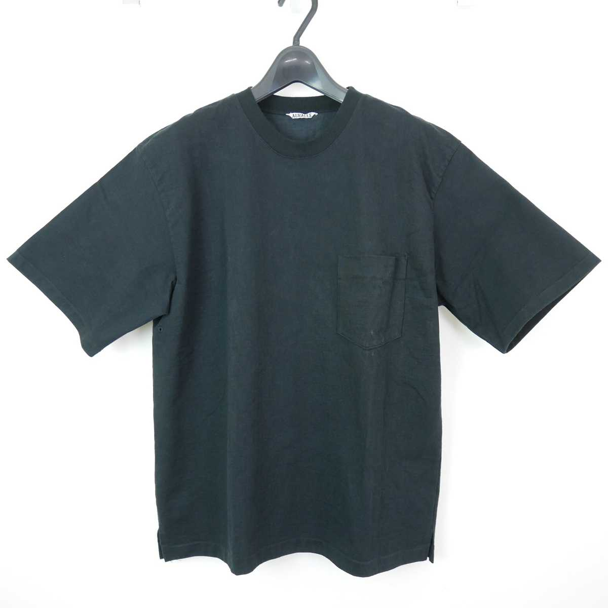 19SS AURALEE オーラリー STAND UP TEE コットン 半袖 無地 スタンドアップ Tシャツ カットソー 黒 5 【中古】 DN-10998