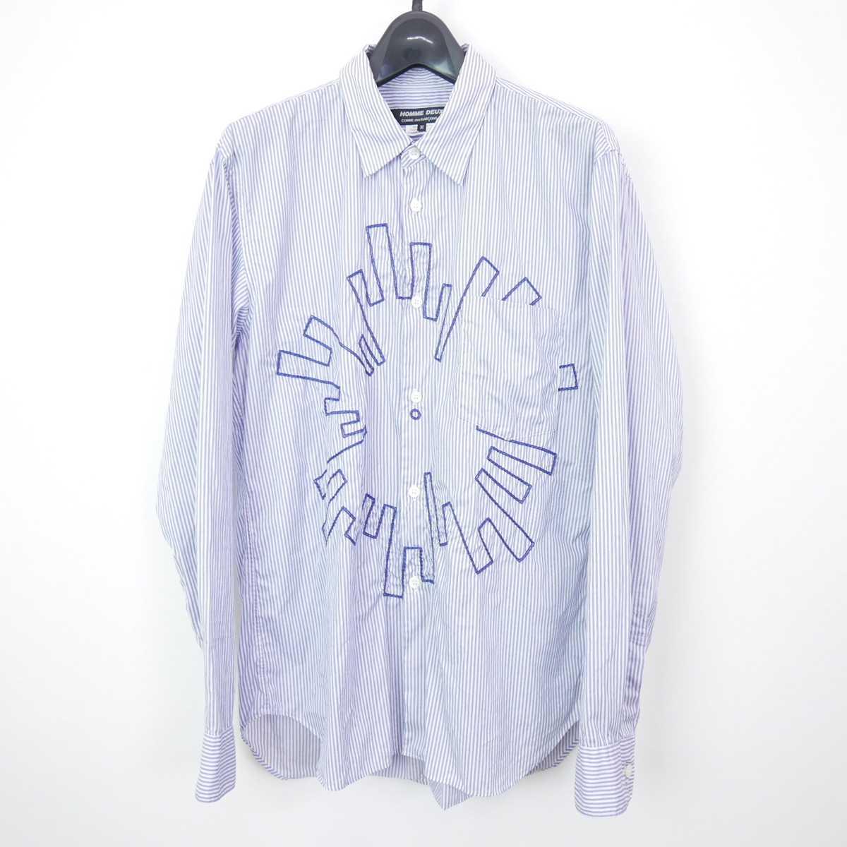 19SS AD2018 COMME des GARCONS HOMME DEUX コムデギャルソン オムドゥ コットン 長袖 ストライプ 刺繍 シャツ BLUE/WHITE M 【中古】 DN-11322