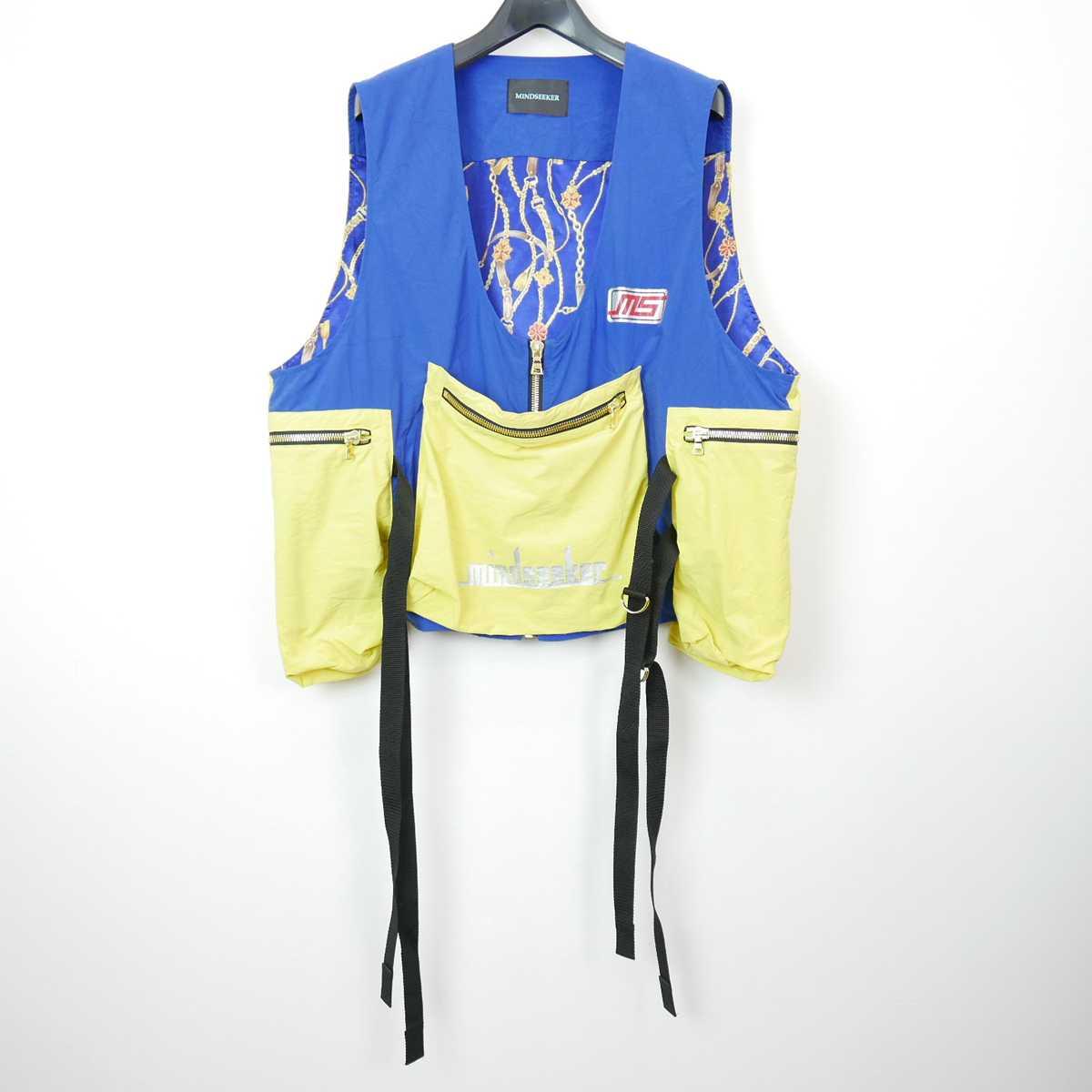 19SS MINDSEEKER マインドシーカー Nylon Fisherman Vest ナイロン フィッシャーマン ベスト BLUE/YELLOW F 【中古】 DN-11500