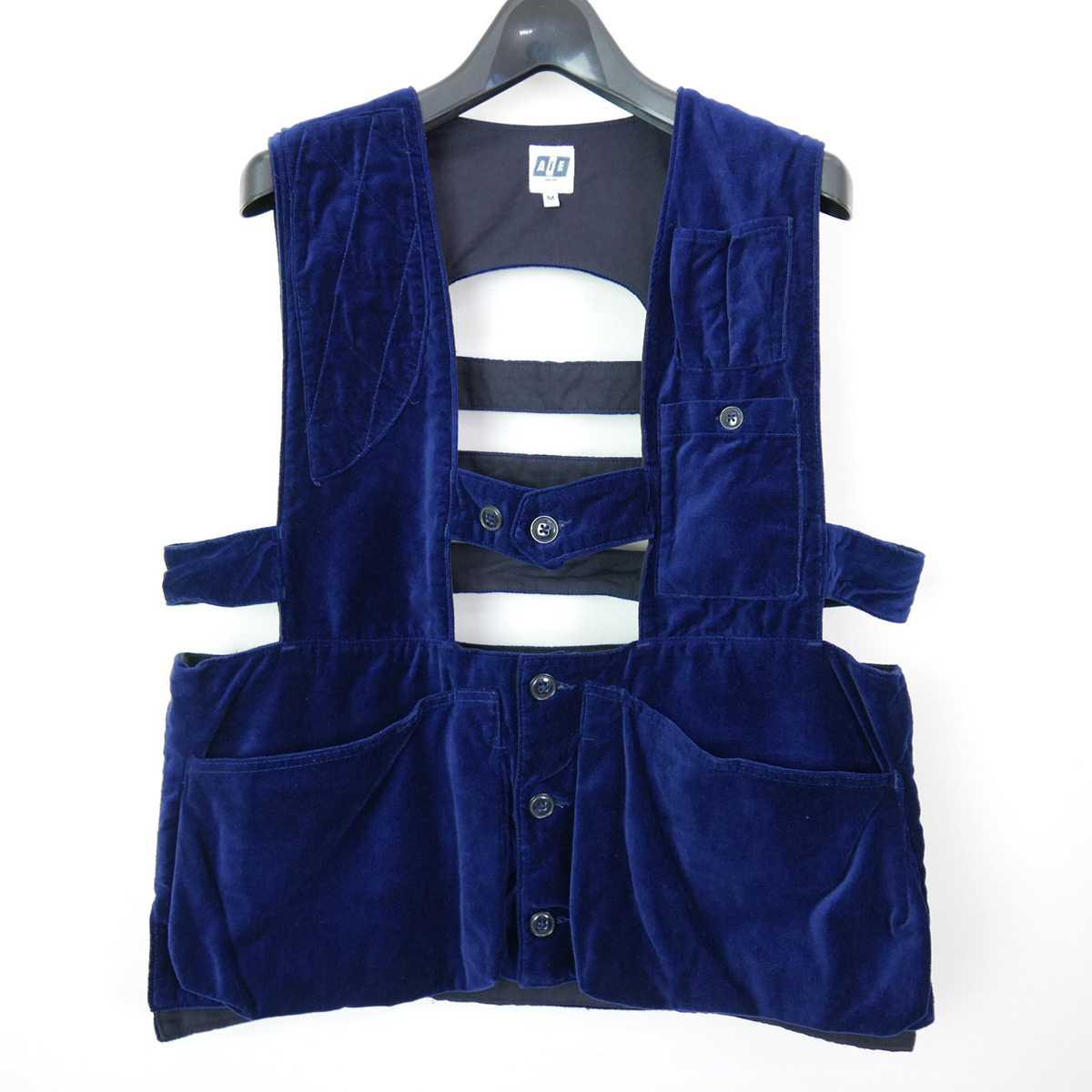 17AW 17FW AiE エーアイイー Game Vest - Cotton Velveteen コットン ベロア ゲーム ベスト ジレ NAVY M 【中古】 DN-11583