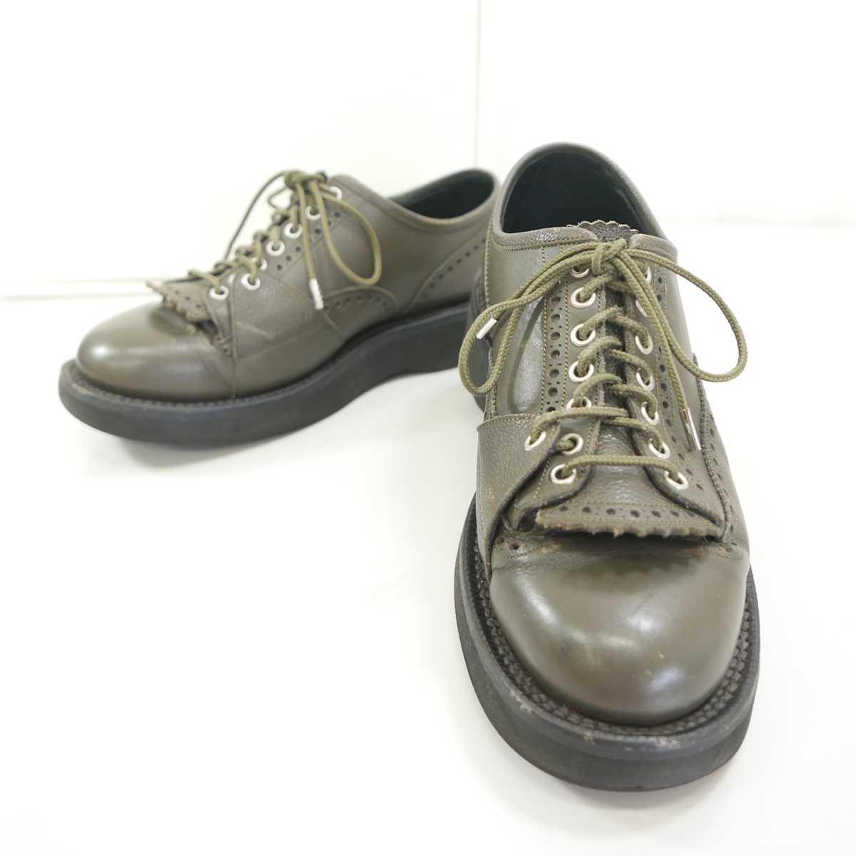 17SS foot the coacher フットザコーチャー COMMANDO SHOES(IMPERIAL SOLE) ラバーソール レザー ブローグ シューズ KHAKI US7.5 【中古】 DN-12794