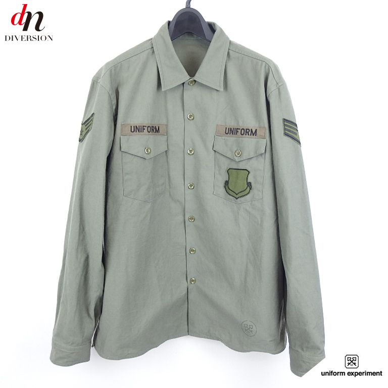 16SS uniform experiment ユニフォームエクスペリメント U.E. UTILITY SHIRT 長袖 ロゴ ワッペン ミリタリー シャツ KHAKI 3 【中古】 DN-2824