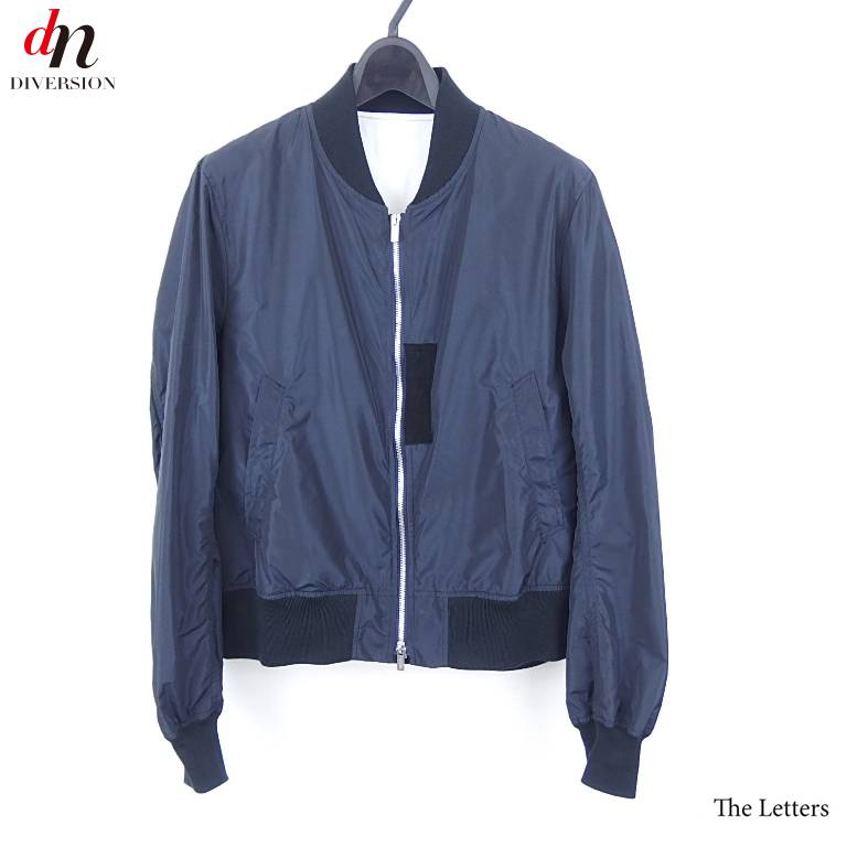 15SS The Letters レターズ Iridescence Flight Blouson シルク混 フライトブルゾン MA-1 NAVY M 【中古】 DN-2953