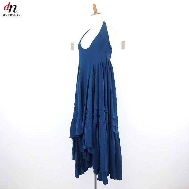 BALENCIAGA SILK バレンシアガ シルク ホルターネック ノースリーブ フリル ロング ワンピース ドレス BLUE GREEN 36 【中古】 DN-3362