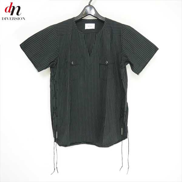 16SS The Letters ザ レターズ Cutting Laced Up Typewriter Stripe S/S Shirt. -With Beads- 半袖 ストライプ プルオーバー シャツ BLACK M 【中古】 DN-6549
