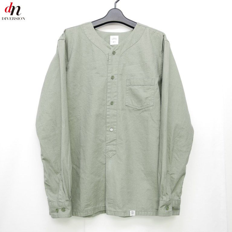 16SS BEDWIN & THE HEARTBREAKERS ベドウィン&ザ ハートブレイカーズ L/S MILITARY PULLOVER SHIRT 長袖 ミリタリー ノーカラーシャツ OLIVE 3 【中古】 DNS-1053