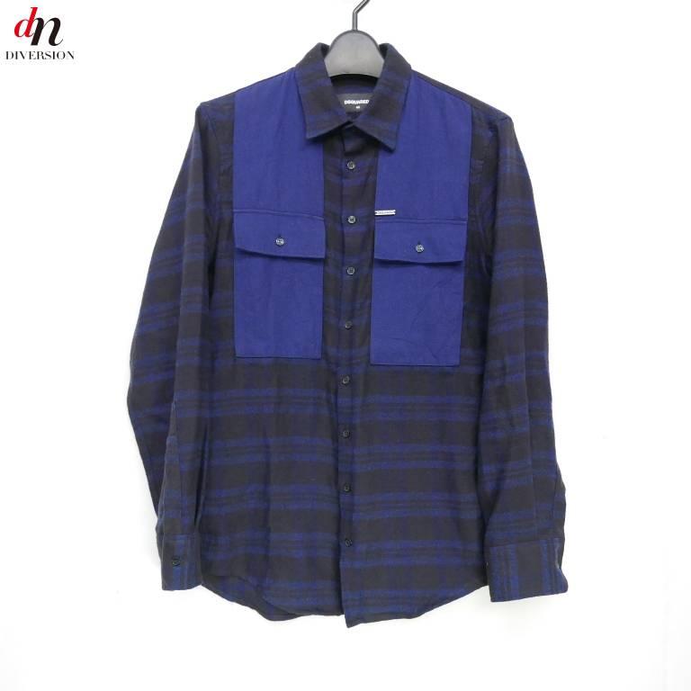 DSQUARED2 ディースクエアード ポケット切り替えデザイン ネルシャツ NAVY/BLACK 44 【中古】 DNS-3638
