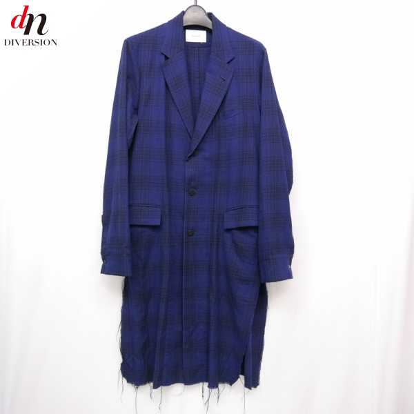 15SS The Letters ザ レターズ classic chesterfield shirt チェック チェスターフィールド シャツ コート チェスターコート NAVY CHECK S 【中古】 DNS-5782
