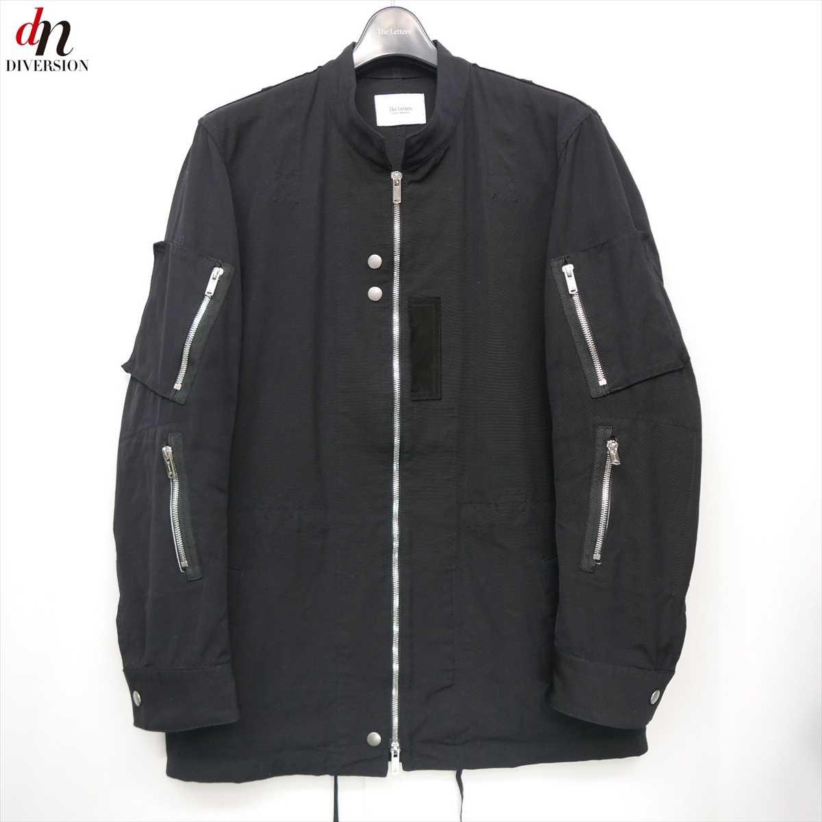 18SS The Letters ザ レターズ Military Zip Jacket. -Pin OX- ナイロン コットン ミリタリー ジップ ジャケット ブルゾン BLACK S 【中古】 DNS-7201