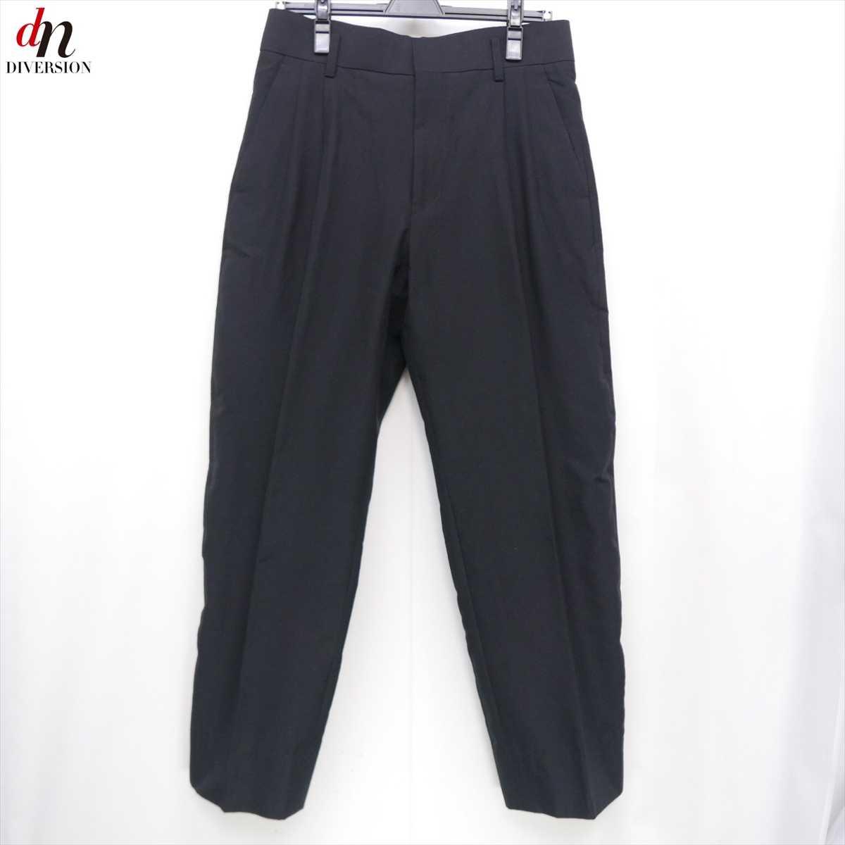18SS The Letters ザ レターズ High Waisted Trousers OX キュプラ混 コットン ハイウエスト トラウザー パンツ BLACK S 【中古】 DNS-7206