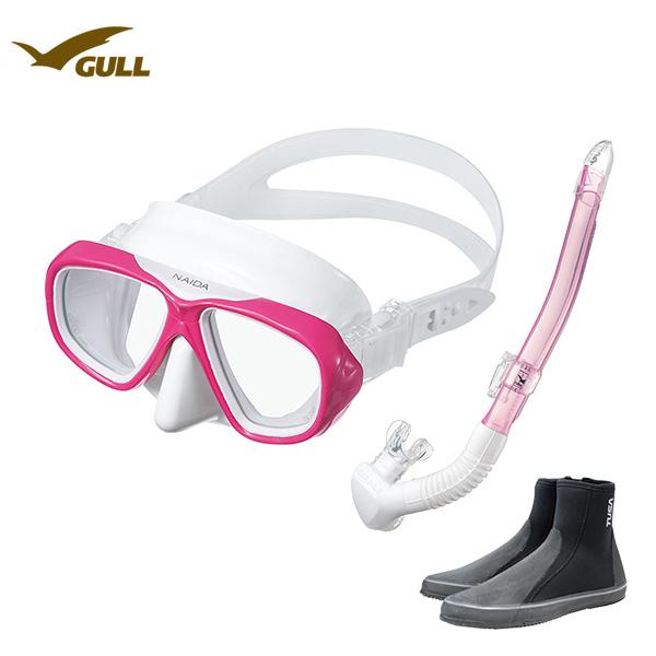 GULL(ガル)ダイビング 軽器材3点セット レディースNAIDA(ネイダ)ブラック/ホワイトシリコンレイラステイブルブラック/ホワイトシリコン(GS-3174)ブーツ(DB-3014) UVレンズシュノーケリング ダイビング 軽器材