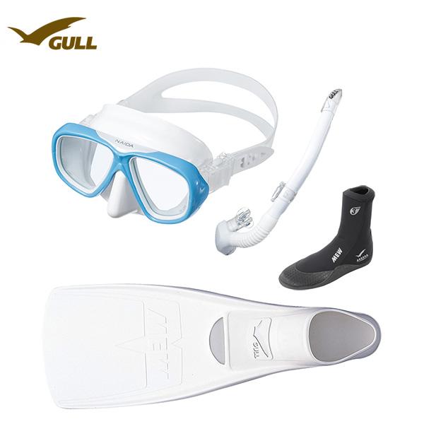 GULL(ガル)軽器材4点セットネイダ(NAIDA)シリブラック/ホワイトシリコン(GM-1234)二眼マスクレイラステイブル ブラック/ホワイトシリコン(GS-3173)(MEW)ミューフィン ミューブーツ2ダイビング スノーケリング