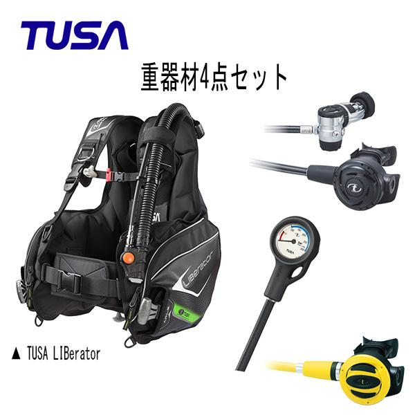 TUSA(ツサ) BCs レギュレーター オクトパス ゲージ 重器材4点セット (LIBerator(リブレータ) BC0103B レギュレータ― RS1103J オクトパス SS-20 残圧計 SCA-150J) メンズ レディース 男女兼用 ダイビング・メーカー在庫確認します