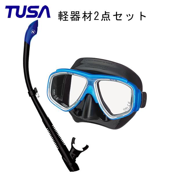 TUSA(ツサ) 軽器材2点セットスプレンダイブ2ブラックシリコン M-7500QBAQUALUNG アクアラング ヴァリオスノーケルスキューバダイビング・シュノーケリング